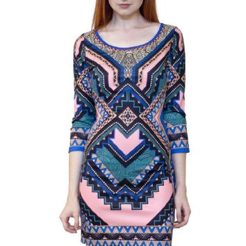 Flying Tomato Women's Aztec Print Bodycon Mini Dress