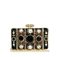 River Island Gold Embellished Box Clutch