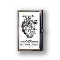 Business Card Case Vintage Anatomy Heart Diagram Metal Case Fits Business, Credit, Debit and Gift Cards - Vintage Reproduction