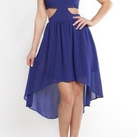 Royal Blue Hi-Low Dress with Cutout Waist & Back Detail