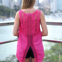 Pink Crochet Lace Back Hi-Low Top