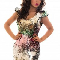 Multicolor Sequin Cap Sleeve Dress
