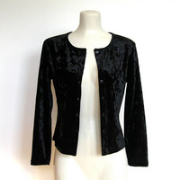 Vintage 1990s Goth / New wave Black Crushed Velvet Buttondown Shirt / Crop Top