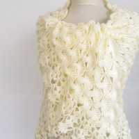 Christmas gift -Crochet shawl -wedding bridal shawl- of-white shawl light cream shawl scarf mom gift