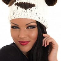 White Teddy Bear Hat with Pom Pom Detail
