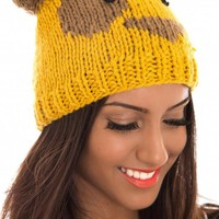 Mustard Yellow Teddy Bear Hat with Pom Pom Detail