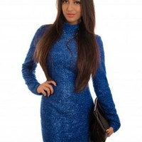 Blue Sequin Long Sleeve Dress with Cutout Open Back