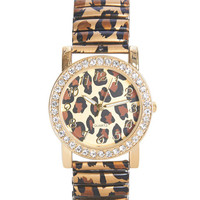 Leopard Metal Stretch Watch | Wet Seal