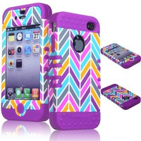 Bastex 2in1 Hybrid Rocker Case for Apple iPhone 4, 4s - Purple Silicone with Pink, Gray, Blue, & Orange Neon Colors - Chevron Style Hard Shell