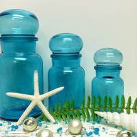 3,Blue Glass Jars,Bubble Lid,Belgium,BLUE CHRISTMAS,Storage Jars,Apothecary Jar,Bathroom,Hostess Gift,Glass Containers,Wedding,Beach Decor