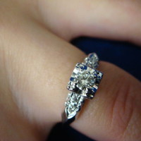 !VINTAGE 14K WHITE GOLD & 0.25 CT. T.W. DIAMOND ENGAGEMENT RING 14K WHITE GOLD