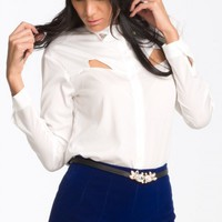Icy White Cutout Blouse