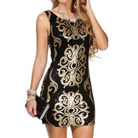Black/Gold Brocade Bodycon Dress