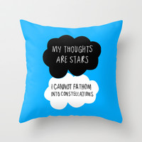 My Thoughts are Stars Throw Pillow by Trisha Bagby
