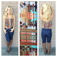 Brown & Mint Southwestern Print Crop Top