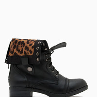 Holly 7 Leopard Lined Cuff Down Combat