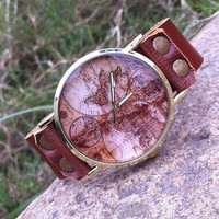 Retro style watch,world map wrist watch bracelet, Brown Leather Bracelet Watch, Handmade Women's Watch, Men's wristwatch PB086