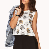 Cat Print Crop Top