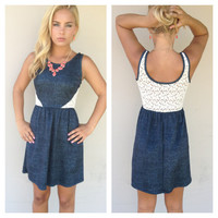 Navy Lace Back Sleeveless Dress