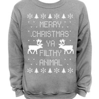 Merry Christmas Ya Filthy Animal- Ugly Christmas Sweater - Gray Mens CREW