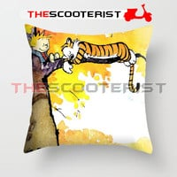 "Calvin And Hobbes Sleeping On Tree - Pillow Cover 18"" x 18"" - One Side"