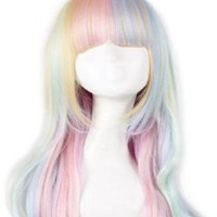 Lolita, Lolita Wig Anime Cosplay Colorful Gradient the Harajuku Wind Ice Cream Color