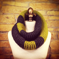 Chunky Infinity Scarf Cowl with Color Blocking - Charcoal and Chartreuse - MADE TO ORDER