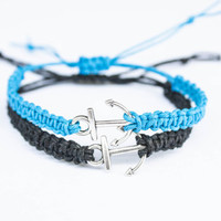 Blue and Black Anchor Couples or Friendship Bracelets Couples gift