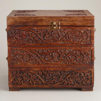 Carved Wood Tiered Jewelry Box