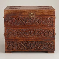Carved Wood Tiered Jewelry Box - World Market