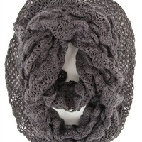 Crochet Knit Infinity Scarf with Ruffle and Fringe