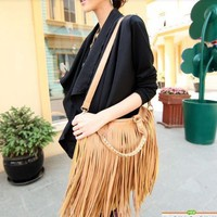 Fashion Women Punk Tassel Fringed Handbag Tote Shoulder Purse Bag(Coffee)