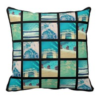 DIY 25 or 50 Photo Instagram Black Throw Pillow