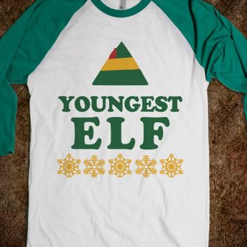Youngest Elf-Unisex White/Evergreen T-Shirt