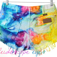 Vintage Wrangler RAINBOW Marbled Dyed Denim Destroyed High Waist Cut Off Shorts L