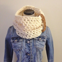 Cream White Cowl Scarf with Brown Detail - Cream Scarf - Fall Cowl - Autumn Thick Cowl
