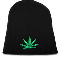 King Ice Marijuana Leaf Black Beanie