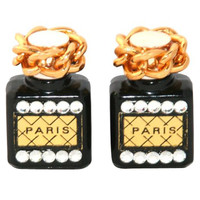 Unique Paris Perfume Bottle Earrings 1980