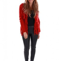 Red Cardigan Sweater with Long Sleeves and Tassles
