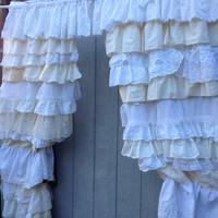 Ruffled Curtains Shabby Vintage Rustic Chic Window Treatment, Draperies - Anthropologie Boho - OOAK, Repurposed, Upcycled Textiles