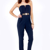 Step Up to the Plate Strapless Navy Blue Jumpsuit