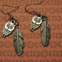 Adorable Owl and Feather Dangle Earrings