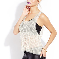 Showstopper Embellished Mesh Tank