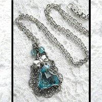 Light Aquamarine Pendant - Charmed Glass with Bow