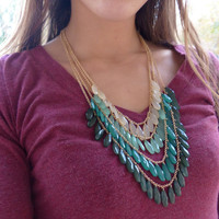 Mint Green, Creme, and Emerald Green Beaded Bib Statement Necklace with FREE Earrings, Chainmail Necklace, Christmas Green Necklace