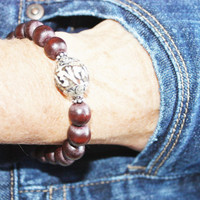 MEN'S Bracelet, Men's Gift, Bold Accent, Brown Wood Beads, Tibetan Conch Shell Bead, Holiday Gift, Earthy, READY to SHIP