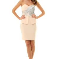 Champagne JD261Stunning bandeau dress with sequin bust and p
