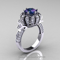 Classic Yeva 14K White Gold 1.0 CT Alexandrite Diamond Crown Solitaire Bridal Ring Y303H-14WGDAL