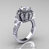 Classic Yeva 14K White Gold 1.0 CT White Sapphire Diamond Crown Solitaire Bridal Ring Y303C-14WGDWS