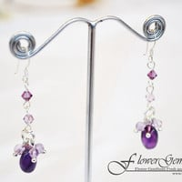 Silver Earring Long Drop Design Amethyst Gemstone with Swarovski Crystal Bead Handmade by Flower GemStone